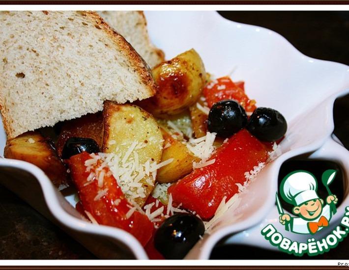 Рецепт: Картофельный гарнир с маслинами