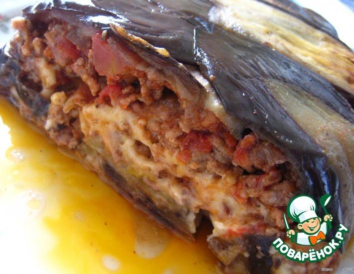 Рецепт: Баклажанная   шарлотка   с   мясом