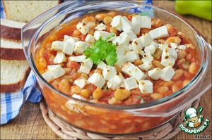 Beans, baked in tomato and Mediterranean