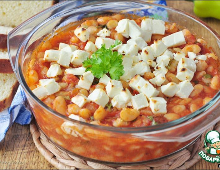 Рецепт: Фасоль, запеченная в томате по-средиземноморски