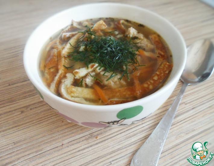 Рецепт: Суп с фрикадельками и яично-рисовыми блинчиками