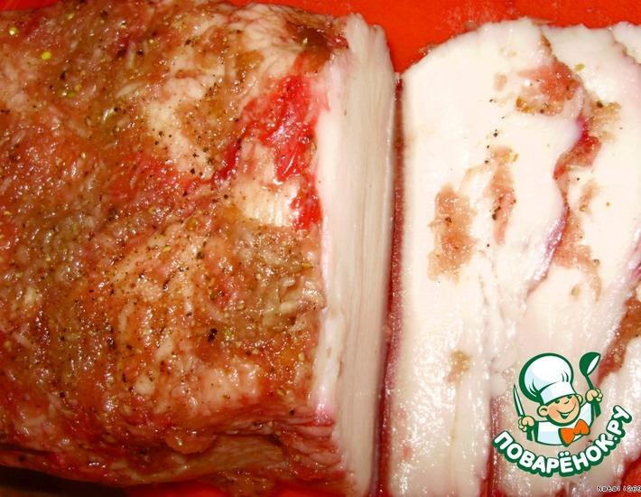 Рецепт: Соленое сало «Розовый поросенок»
