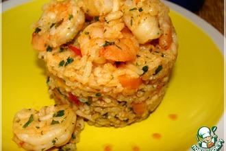 Рецепт: Рис пряный с креветками