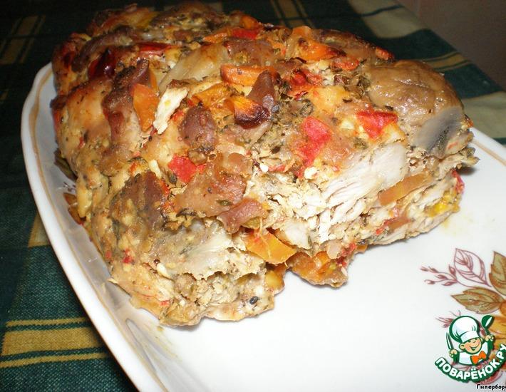 Рецепт: Куриная запеканка с грибами и овощами