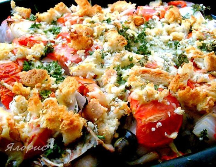 Рецепт: Курица под хлебно-сырной корочкой