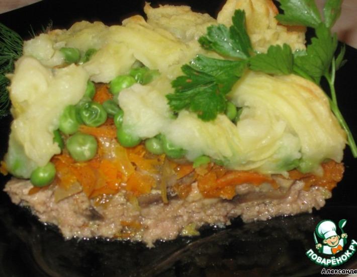 Рецепт: Мясная запеканка с зеленым горошком