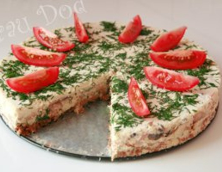 Рецепт: Сырный торт с ветчиной и грибами