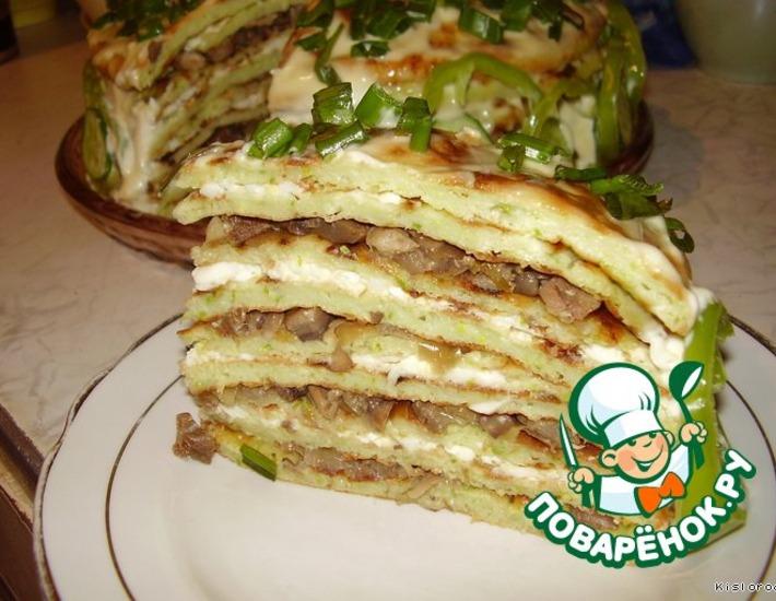 Рецепт: Весенний закусочный торт Нежность