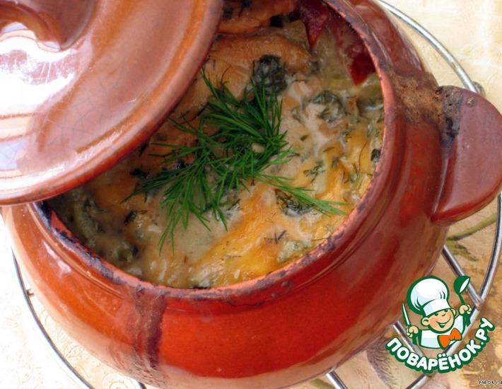 Рецепт: Жаркое в горшочке под сырной шапочкой