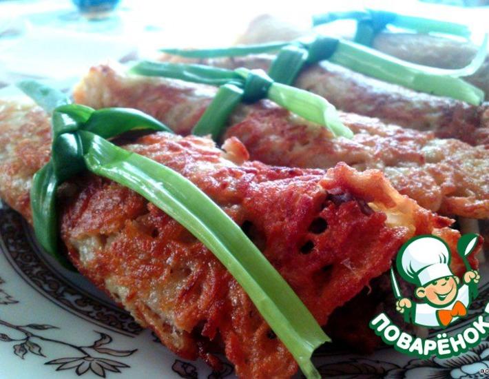 Рецепт: Драники-рулеты с грибной начинкой
