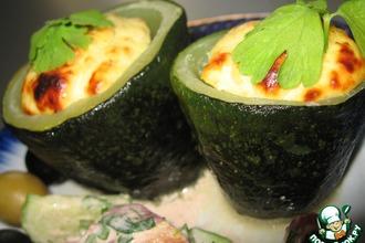 Рецепт: Кабачки, фаршированные куриным суфле