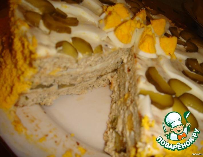 Рецепт: Закусочный тортик из курицы с сыром
