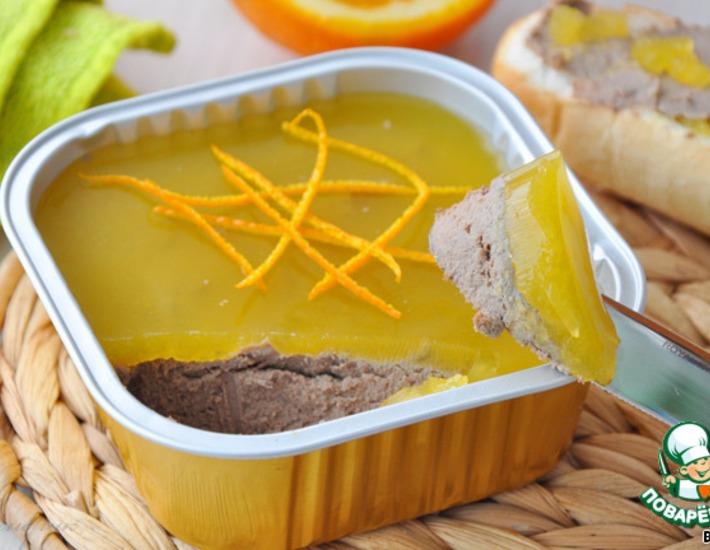 Рецепт: Паштет из куриной печени с апельсиновым желе