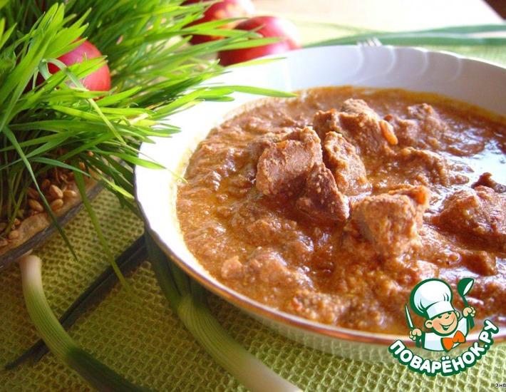 Рецепт: Мегрельское харчо с грецкими орехами