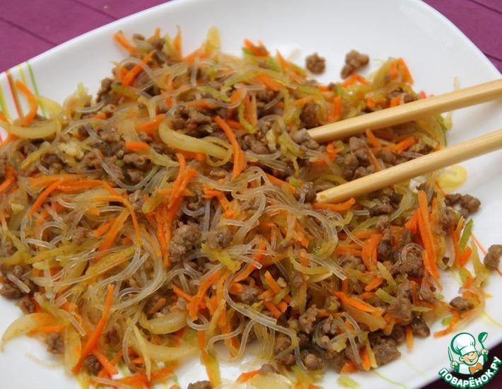 Фунчоза с мясом и овощами рецепт видео #6