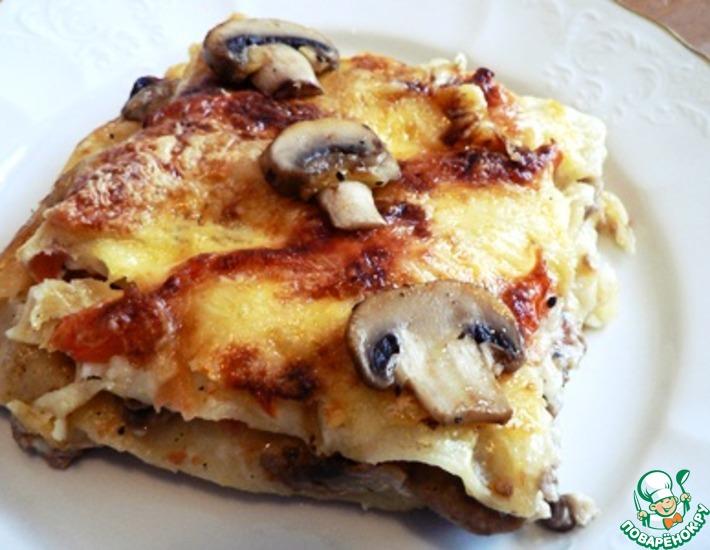 Рецепт: Сырная лазанья с уткой и шампиньонами