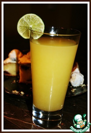 7. Pour in a tall glass, with ice, garnish with fruit.