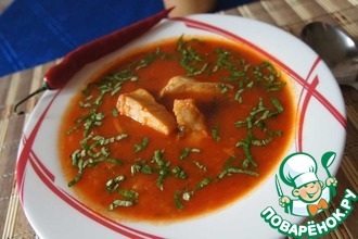 Рецепт: Острый томатный суп с рыбой