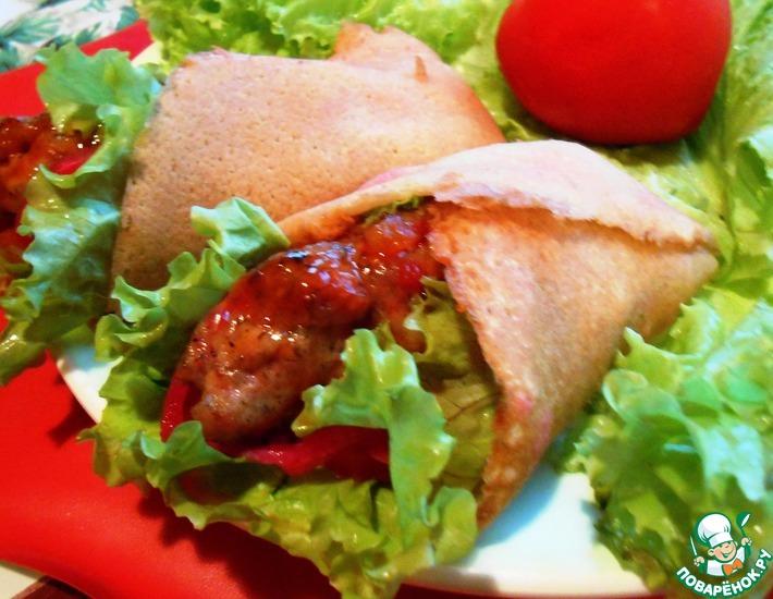 Рецепт: Люля-кебаб в блинном конвертике