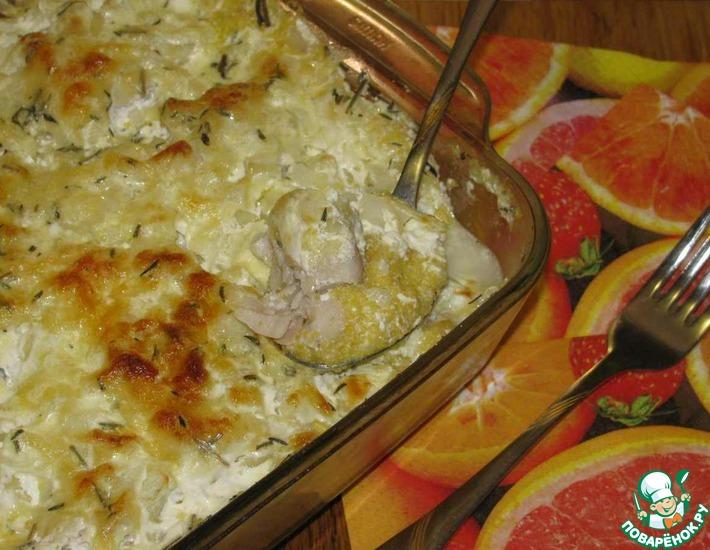 Рецепт: Рыба, запеченная с кукурузной крупой и сыром