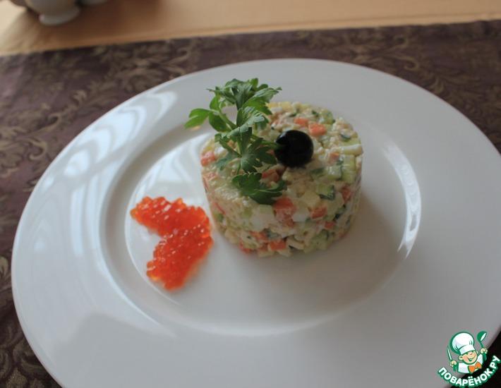 Рецепт: Салат Оливье с крабовым мясом