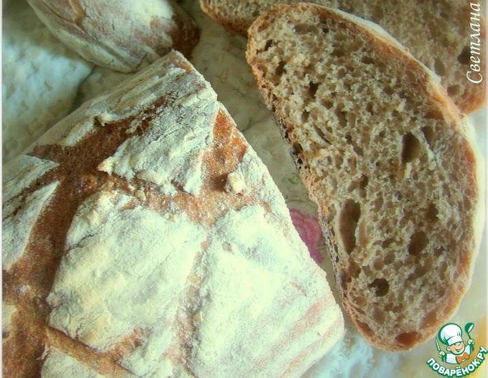 Рецепт: Хлеб с цельнозерновой мукой на закваске