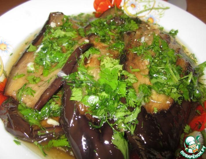 Рецепт: Баклажаны в чесночно-уксусном соусе с кинзой