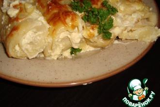 Рецепт: Запеченные блины с курицей и грибами