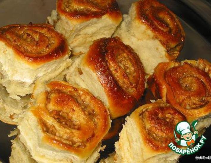 Рецепт: Булочки с яблоком из быстрого теста