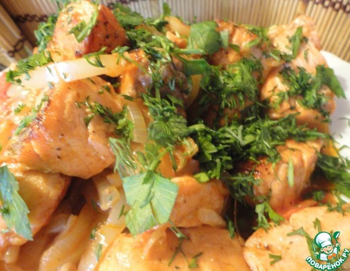 Рецепт: Форель жареная с овощами