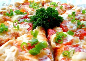 Quiche with tomatoes and cheese