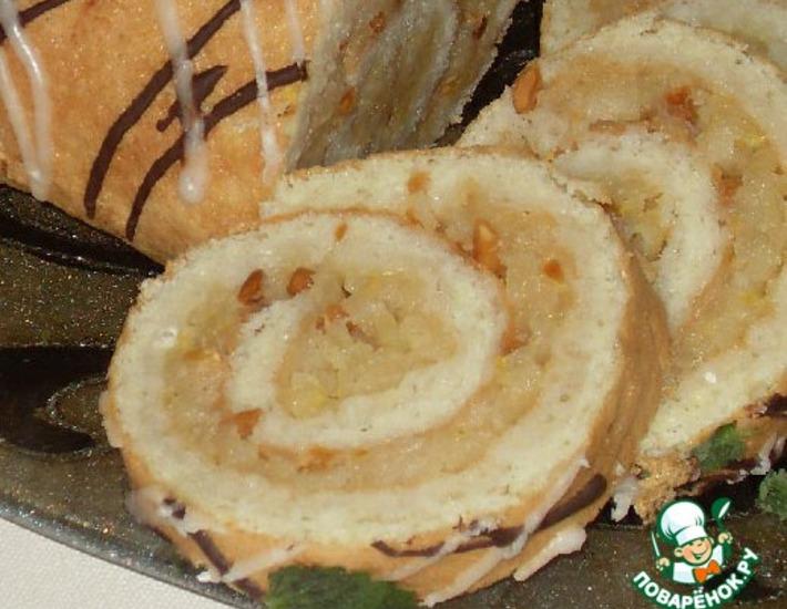 Рецепт: Пандишпановый рулет с яблоками
