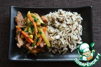 Рецепт: Стир-фрай из свинины с морковью и огурцом