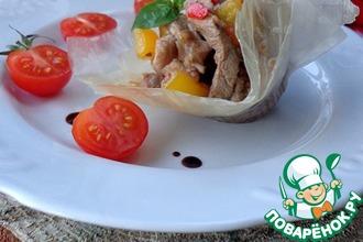 Рецепт: Свинина с соте из шампиньонов и овощей