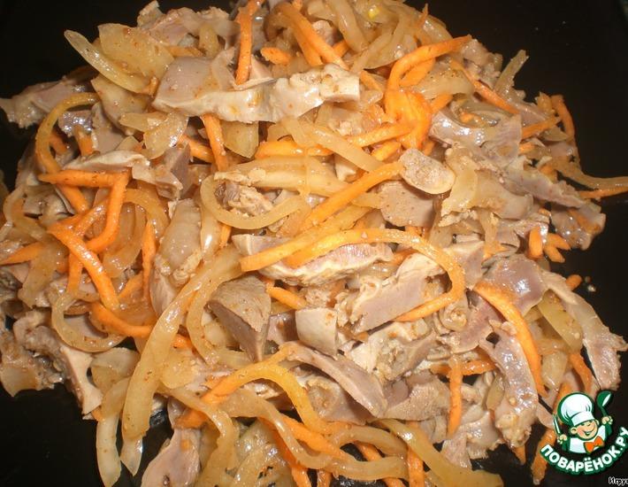 Рецепт: Острый салат из куриных желудочков