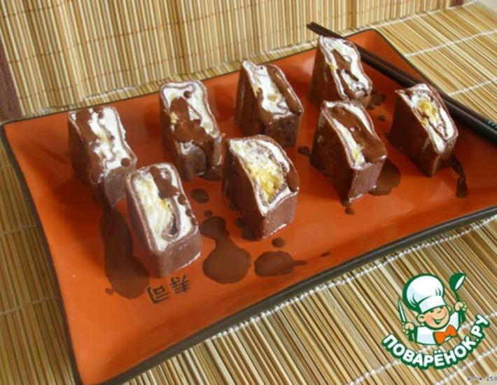 Рецепт: Шоколадные роллы «Черный самурай»