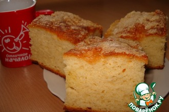Рецепт: Творожно-дрожжевой пирог Сахарок