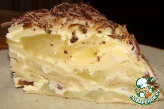 Рецепт: Торт блинный с творогом и яблоками