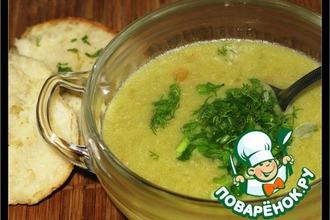 Рецепт: Крем-суп из курицы с зелeным горошком