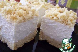 Рецепт: Творожно-сливочное пирожное Белая ночь