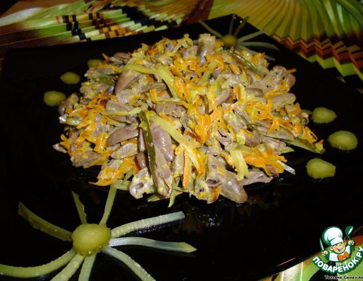 Рецепт: Салат из куриных сердечек
