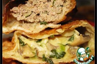 Рецепт: Чебуреки с мясом и с грибами и сыром