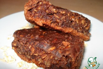 Рецепт: Шоколадное пирожное с творогом и овсяными хлопьями