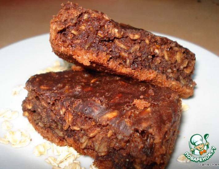 Шоколадное пирожное с творогом и овсяными хлопьями – кулинарный рецепт