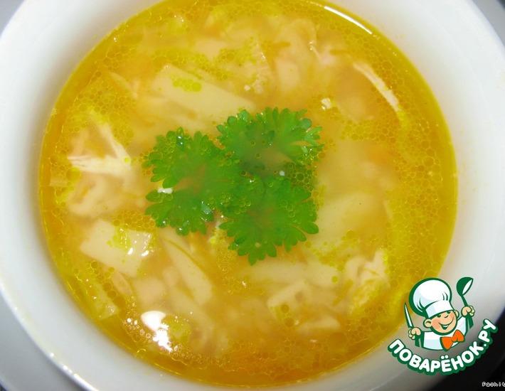 Рецепт: Куриный суп Рыжик с жареной вермишелью