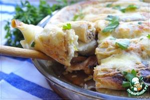Рецепт Блинный пирог с курицей и шампиньонами