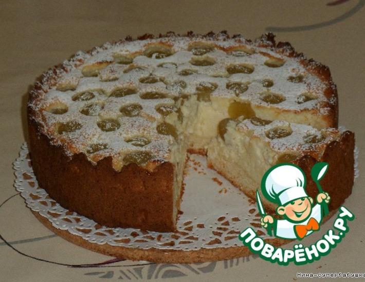 Рецепт: Творожный пирог с виноградом