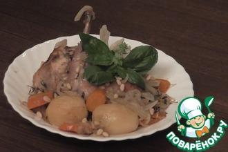 Рецепт: Кролик, тушенный в вине с овощами