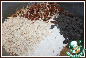2. Добавить к смеси муку, Хлопья овсяные, орехи и шоколад - перемешать до однородности.