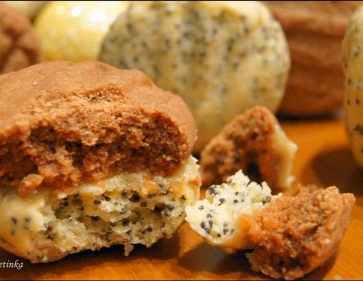 Рецепт: Печенье песочное с кремом из халвы